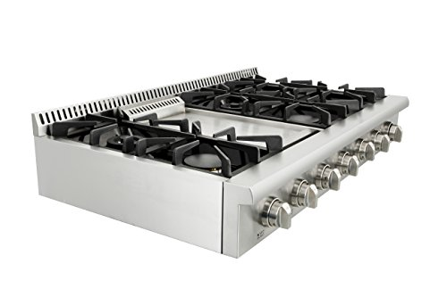 Evakitchen Pro-Style Gas Rangetop with 6 Cooktop, Sealed Performance Burners with Iron Grates, Metal Knobs in Stainless… 6 Black Porcelain Drip Pan 3 x Heavy Duty Flat Cast-iron Cooking Grates Fuel :NG/LPG( LP kits could be a free gift if needed)