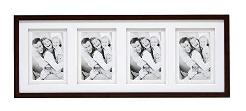 Deknudt Frames S65KQ4 Bilderrahmen 10x15 Holz Braun, doppeltes Pptt für 4 Bilder Holz Fotokader