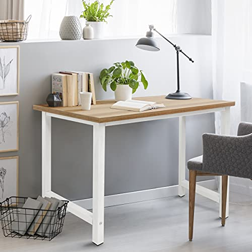 ML Design Schreibtisch Computertisch 120x60x74,5 cm aus Holz, Eiche-Weiß, mit stabiles Metallgestell für Home Office Schule, einfacher Aufbau, Multifunktional - Bürotisch Arbeitstisch Laptoptisch