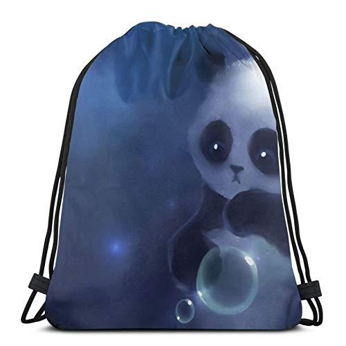Panda Look - Mochila unisex con cordón para dibujo de bolas, bolsa de cincha de poliéster, impermeable, para deporte, gimnasio, mochila informal para mujer