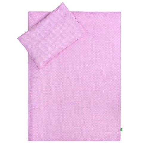 Lulando Lenzuola - Lenzuola per Bambini, Completo da 2 Pezzi: Cuscino e Copri-Piumino Tessuto Esterno 100% Cotone. Adatto per Lettino per Bambini da 70 X 140 Cm.Colore: Pink Dots/White Clouds - 400 g