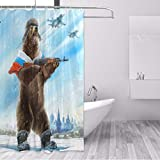 Chenghao's shop Duschvorhang Russland Bär Mit Pistole Polyester Stoff Wasserdicht Bad Vorhang Mehltau Beständig Vorhänge Home Badezimmer Dekor 180 (B) X 200 (H) cm