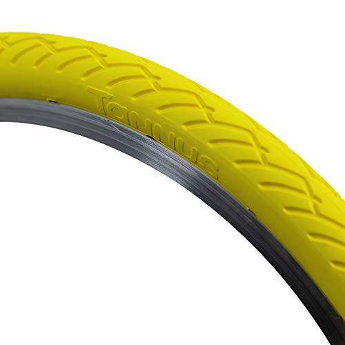 Tannus Tire Cubierta Sólida Airless 16' x 1,25 (Brompton) Dual Size (32-349) (32-355) Mini Velo | Neumático Macizo 100% Antipinchazos, Bici Plegable Urbana, Color Lemon (Amarillo), Dureza Regular