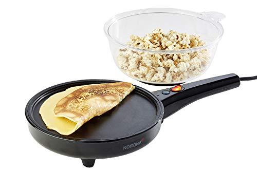 Korona 41050 2 in 1 Popcorn- und Crêpesmaker | 800 Watt max. | abnehmbarer Deckel | inkl. Messbecher für Popcorn | Crêpesplatte einfach zu reinigen | inkl. Löffel für Zucker, Öl oder Salz