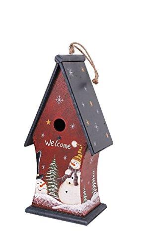 Grace Home Wood Hanpainted Birdhouse Decor Christmas Hanging Birdhouse Decoration (Blue Top)