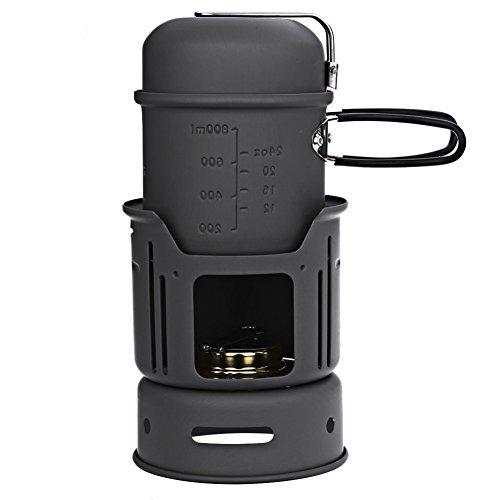 Unbekannt Portable 7Pcs Geschirr Set Alkohol Herd Für Outdoor Wandern Camping Picknick 1-2 Personen