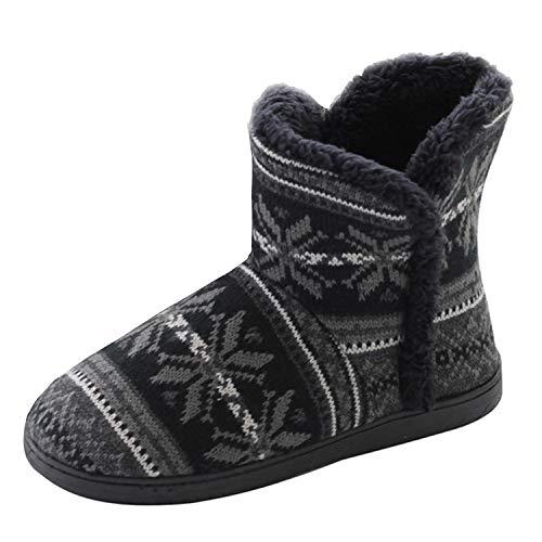 DULEE Damen Winter Flausch Gefüttert Hüttenschuh Wollhausschuhe Winterhausschuhe Hüttenstiefel Slipper Boots Warme Hausschuhe,Schwarz Pattern 39/40