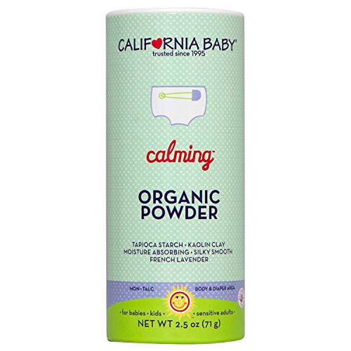 California Baby Calming Organic Powder (2.5oz) Our talc-free, vegan, certified organic powder is safe for all ages and doesn't have the same health concerns as traditional talcum-based powder.