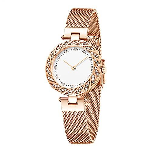 SIMEISM Reloj de lujo de la moda de cristal de las mujeres de oro rosa correa de acero de las señoras relojes de pulsera del reloj de