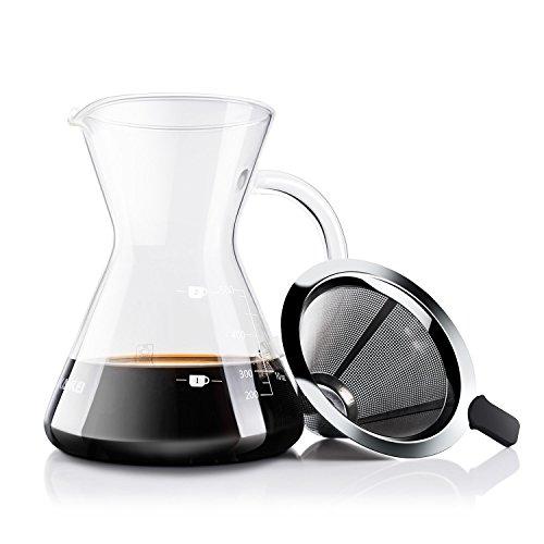 Love-KANKEIコーヒーサーバーコーヒードリッパープレゼントスポンジブラシ付属耐熱ガラスステンレスフィルター2層メッシュフィルター不要電子レンジ可2-4人分500Ml