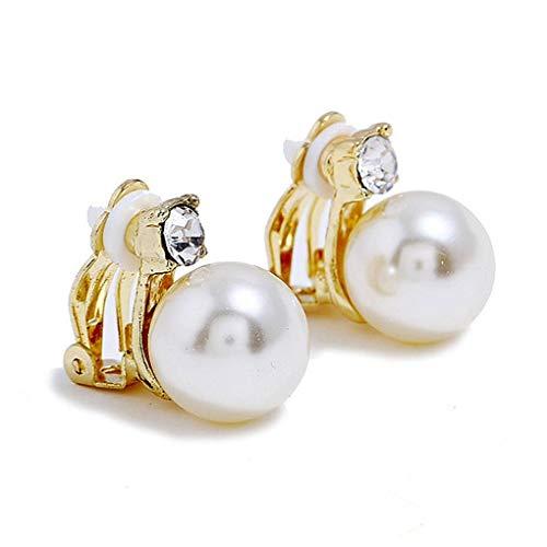 Bodbii 1 paio ragazze cristallo della perla orecchini di clip di nozze donne ciondolo femminile No Piercing Orecchini