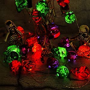 Halloween Decorations, Halloween Skull Light String Decoration, Battery Operated Lights String Wireless Remote Control 30 LED Lights Dust-Proof and Waterproof Design, Halloween Party Decoration. is $19.99 (31% off)
