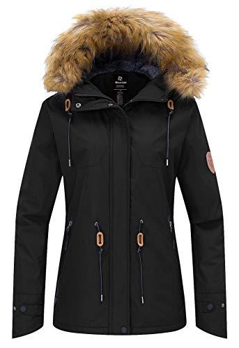 Wantdo Women's Waterproof Ski Jacket Hooded Winter Snow Coat Mountain Snowboarding Jackets Fleece Parka