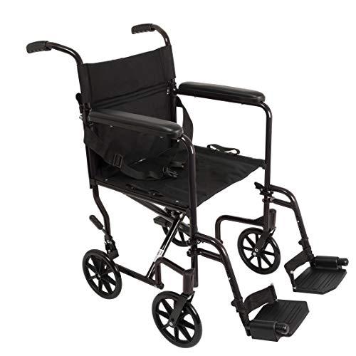 "ProBasics - TCA1916BK Aluminum Transport Wheelchair - 19"" Wheel Chair Transport Chair - Black"