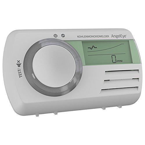 AngelEye CO Melder inkl. 7Jahre Batterie Kohlenmonoxidwarnmelder mit funktionalem Display Kohlenmonoxid Warner CO Gas + FiduciaShop Thermometer Gratis
