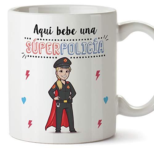 MUGFFINS policía. Tazas Originales de café y Desayuno para Regalar a Trabajadores Profesionales - AQUÍ Bebe UNA SÚPER POLICÍA - Cerámica 350 ml
