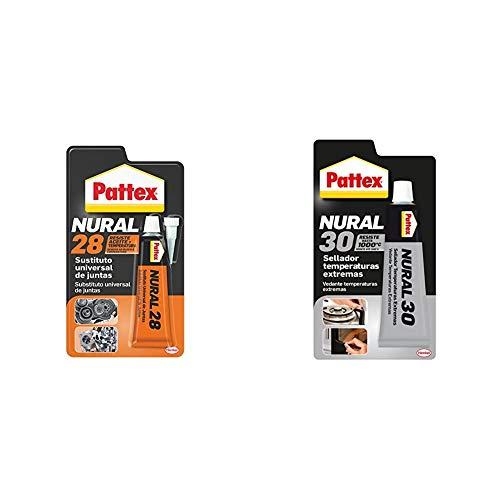 Pattex Nural 28 Sustituto universal de juntas, silicona selladora para juntas de culata, 1 x 40 ml + Pattex Nural 30, masilla selladora especial para temperaturas extremas, 110gr