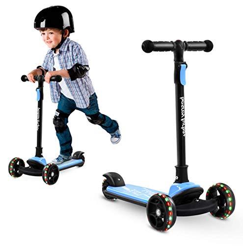 Scooter de 3 ruedas para niños de 3 a 8 años, fácil plegable ruedas intermitentes, mango de altura ajustable para niños y niñas, cumpleaños, peso máximo de 100 libras (azul)