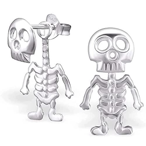 AHURGND Un par de pendientes de cráneo Pendientes de cráneo de estilo punk, huesos de esqueleto y encanto de cráneo Pendientes colgantes, pendientes de penetración de orejas, aretes de acero inoxidabl