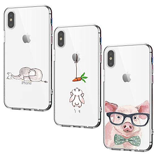 Oihxse Case ersatz für iPhone XS Max Hülle Silikon Ultra Dünne Durchsichtige Transparent Schlanke Tasche Kristall TPU Handyhülle Bumper Soft Schutzhülle für iPhone XS Max-Insgesamt sind DREI (4A)
