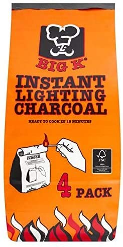 Logs Online Big K 4kg Instant Light Lumpwood Charcoal Bag for Barbecue & Pizza Oven. BBQ Starter for Outdoor Cooking.