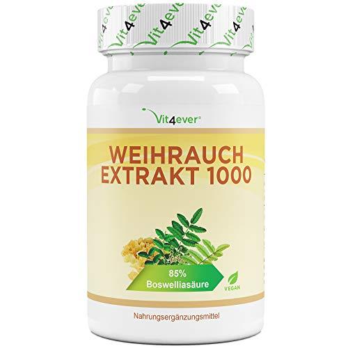 Weihrauch Extrakt - 130 Kapseln - Premium: 85% Boswellia-Säure - Hochdosiert mit 1000 mg je Tagesdosis - Echtes indisches Boswellia Serrata - Laborgeprüft - Vegan
