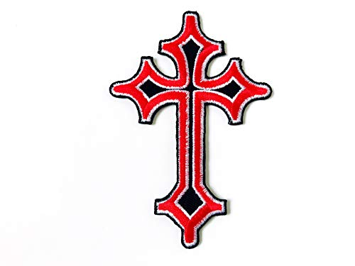 TH Celtic Red Cross Medieval Gothic Goth Embroidered Iron on Patches for Backpacks Jeans Jackets Clothing etc.