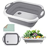 Collapsible Cutting Board, HI NINGER Chopping Board with Towel Kitchen Foldable Camping Dishes Sink Space Saving 3 in 1 Multifunction Storage Basket for BBQ Prep/Picnic/Camping (Grey)