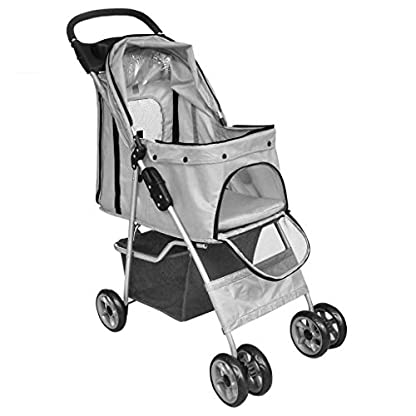 Saving Plus Pet Travel Stroller Dog Cat Pushchair Pram Jogger Buggy Trolley Puppy Jogger Folding Carrier With 4 Wheels (Grey) 5