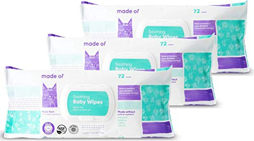 Organic Baby Wipes By MADE OF - Fragrance and Chemical-Free Baby Wipes Sensitive Skin w/ Soothing Aloe and Argan Oil - For Eczema and Skin Irritation – Sensitive Baby Wipes w/ No Alcohol (3 Pack)