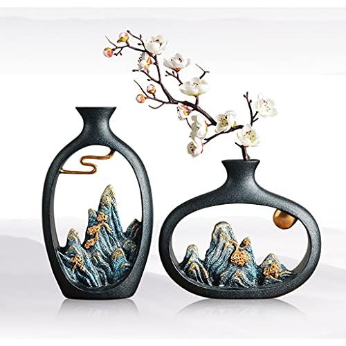 Decoración del jarrón zen, decoración artificial de la flor, decoración de la sala de estar de la flor seca, adecuado para el gabinete de vino TV Mueble de té de la sala de té Decoración de la oficina