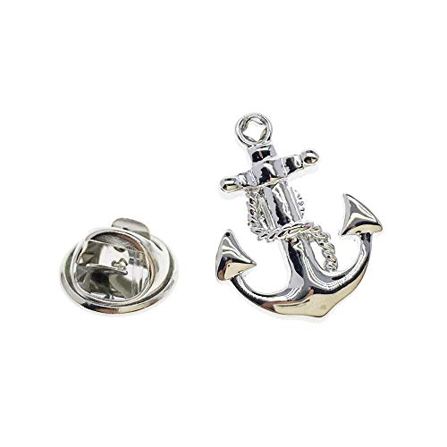 Cuff-Arts Lapel Pin Badges Nautical Anchor Chain Pin Silver Color Brooch Buttons Pins with a Gift Box P10141