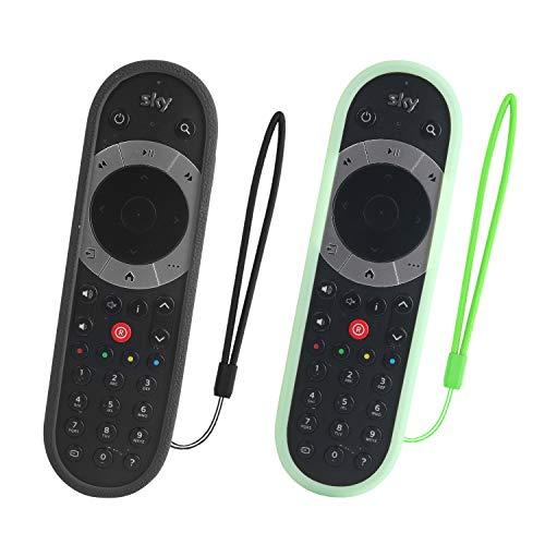 SIKAI 2pc Custodia Protettiva per Telecomando Sky Q touch Edition Custodia in Silicone a Conchiglia Accessori Antipolvere Antiurto Copertura Morbida Protector (Verde)