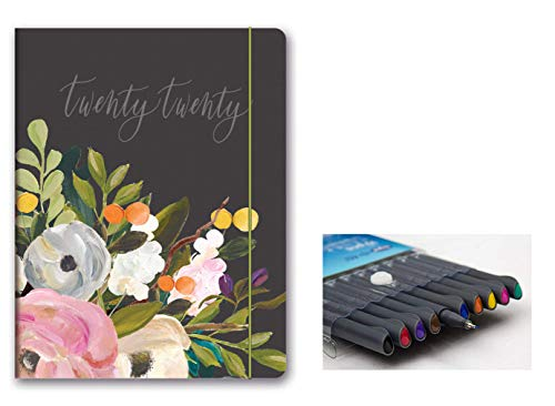 Orange Circle Studio 2020 Just Right Monthly Planner, Aug. 2019 - Dec. 2020, and Comes with Kemah Craft Fineliner 10 Pc Color Pens - Bella Flora