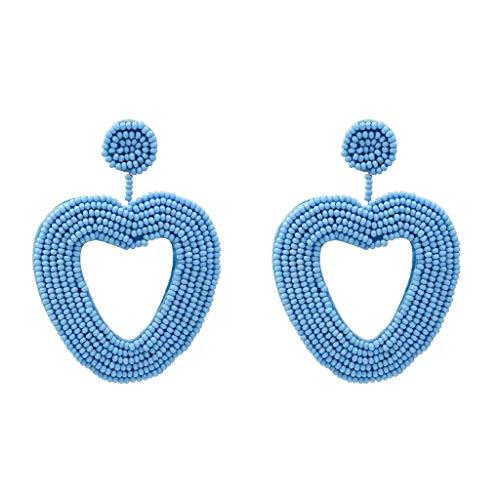 LABIUO Damen Ohrringe,Vintage Geometrische Liebe Herz Reisperlen Anhänger Schmuck(Blau,Freie Größe)