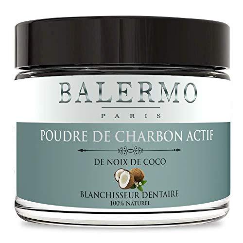 Balermo - Charbon dent, poudre noix de coco blanchiment dentaire 100% naturel, spécial dents blanches. Blanchisseur de qualité professionnelle - activated charcoal teeth whitening - 60ml