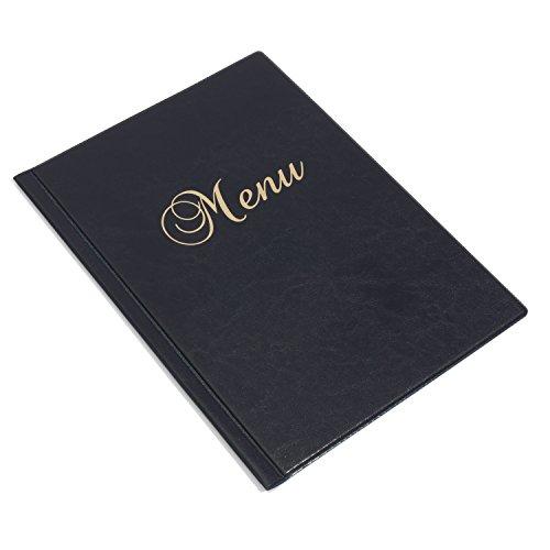 A4 faux lederen menumap met 6 transparante mouwen, 3 kleuren marineblauw