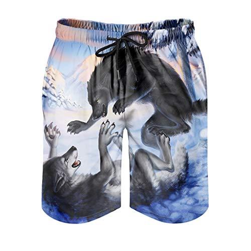 kikomia Bañador para hombre Fantasy Wolf Snow Wood, pintura de vacaciones con bolsillos, blanco, 2XL