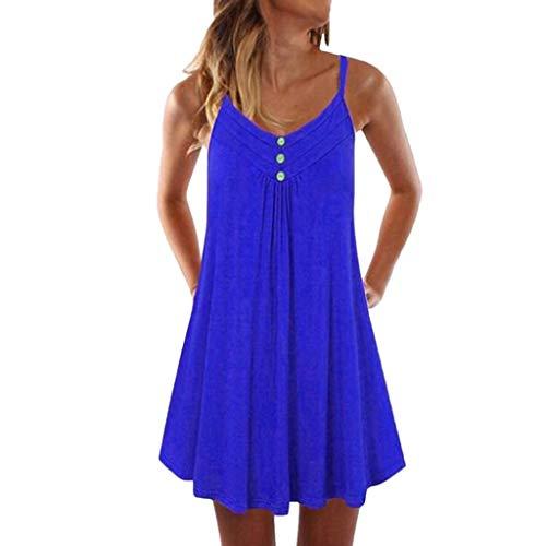 iHENGH Damen Top Bluse Bequem Lässig Mode T-Shirt Blusen Frauen Sleeveless Spaghetti Strap Zweireiher Plain Shift Kleid(Blau-1, XL)