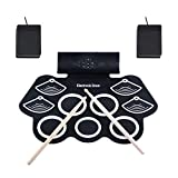 E-Drum Set Asmuse Elektronisches Schlagzeug Kit 9 Pads Tragbare Roll Up Midi Tabletop E-Drum Schlagzeug Set mit Eingebautem Lautsprecher Drum Fußpedal Drumsticks für Kinder Anfänger