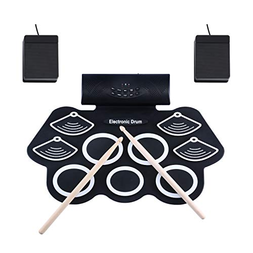 E-Drum Set Asmuse™ Elektronisches Schlagzeug Kit 9 Pads Tragbare Roll Up Midi Tabletop E-Drum Schlagzeug Set mit Eingebautem Lautsprecher Drum Fußpedal Drumsticks für Kinder Anfänger