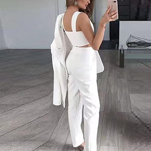 SGZYJ Mujer Vintage Black Slim Fit Blazer 3 PCS Traje Otoño Elegante Femenino Sólido Suelte Conjuntos de Cespo Oficina Casual Oficina Tres Piezas (Color : White, Size : XXL Code)