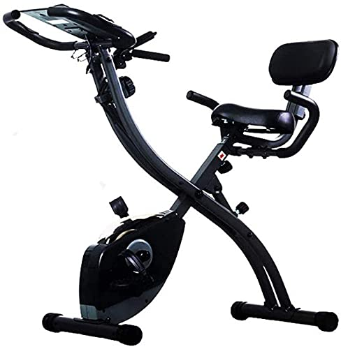 ZJDM Bicicleta estática Plegable Ultra silenciosa, Bicicleta de Fitness para Entrenamiento Cardiovascular en Interiores, Resistencia magnética de 8 Niveles, Monitor de frecuencia cardíaca, asient