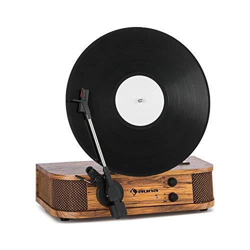 AUNA Verticalo Se - Platine Vinyle rétro Verticale, 33/45/78 t/Min, Haut-parleurs stéréo, Port USB Compatible...