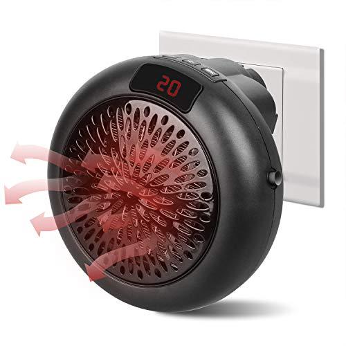 Harddo Calefactor de aire caliente mini de cerámica de 1000 W con modos de calefacción, 3 ajustes de tiempo, termostato, protección contra sobrecalentamiento para casa, oficina, enchufe europeo