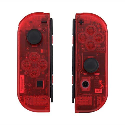eXtremeRate Cover JoyCon Controller Impugnatura Case DIY Guscio Ricambio per Nintendo Switch Joy-Con(Trasparente Rosso) con Kit di Pulsanti-NON Include JoyCon