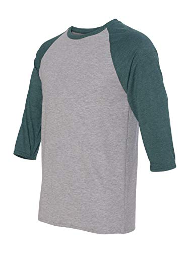 Anvil Men's Tri Blend Raglan Sleeve T-Shirt, White/Heather Dark Grey, Medium