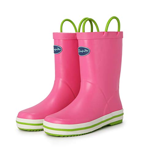 KomForme Kids Rain Boots, Waterproof Rubber Matte Boots with Reflective Stripes and Easy-on Handles, Pink, 12 Little Kid