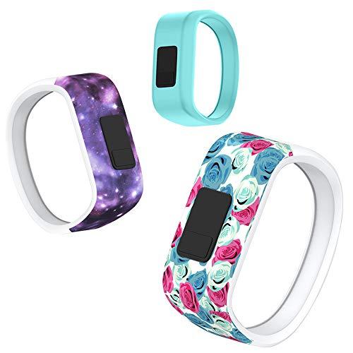NotoCity Compatible Garmin Vivofit 3 Watch Band Sport Watch Strap for Garmin Vivofit JR/Vivofit JR 2/Vivofit 3(Flower/Starry/Teal,Small)