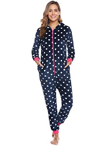 iClosam Pijama de una Pieza Franela Invierno para Mujer Pijama Encapuchado Calentito Ropa de Casa Dormir